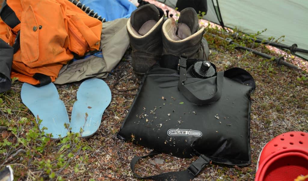 """Anmeldelse af vandbeholder, vandpose """"Waterbag"""" fra Ortlieb, tur"""