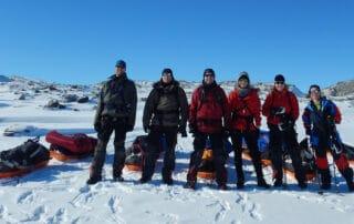 Indlandsisen, på ski i verdens mest øde område, foredrag, Erik B. Jørgensen, et Indlandishold klar til krydsning
