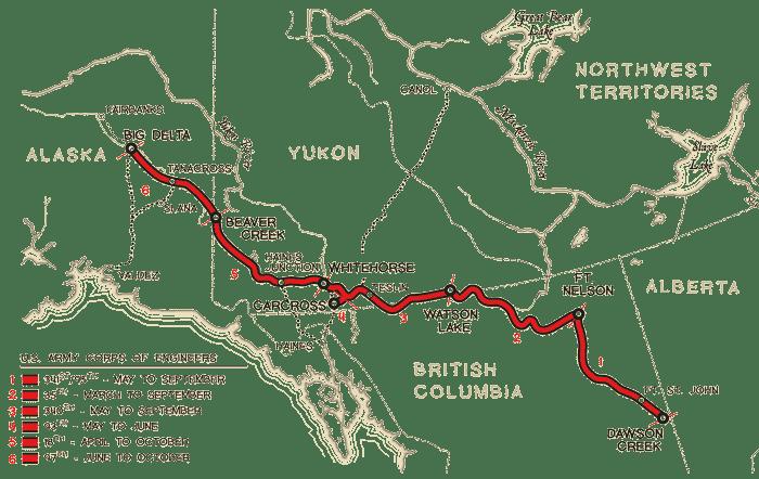 Alaska Highway, kort fra konstruktionen
