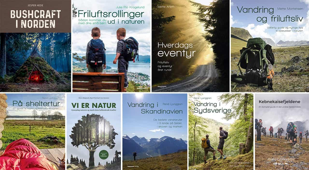 Billeder af flere forskellige bøger, fra indlægget Boganmeldelse: Danske bøger om friluftsliv 2019-2020, af Erik B. Jørgensen