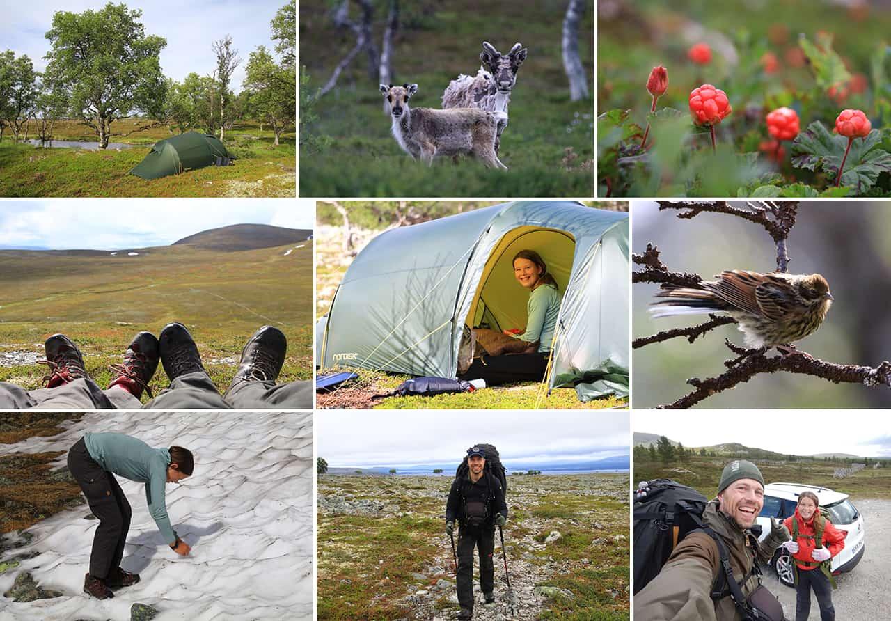 Billede collage fre turen Femundsmarka, Norge, 6 dags Far og datter eventyr [Vandretur], med Erik B. Jørgensen