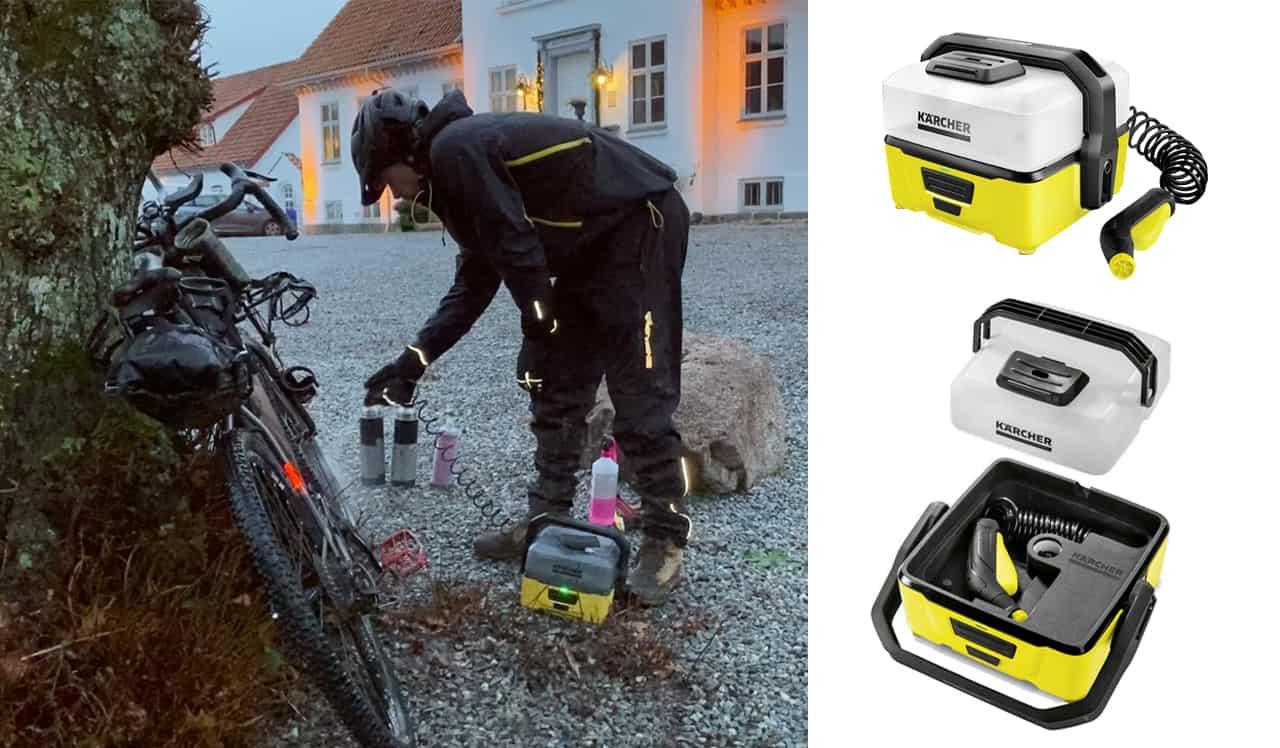 Erik B. Jørgensen vasker bikepacking cykel. Højtryksrenseren til friluftliv/outdoor/træning, Kärcher OC 3 [Anmeldelse]