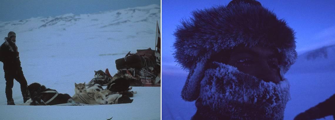 Erik B. Jørgensen ved Slædepatruljen Sirius, med is i hovedet og ved siden af hundeslæden