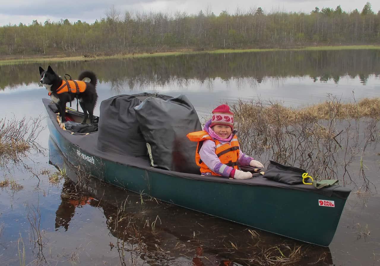 Hyggelig dag, Far og datter i Vildmarken, 45 dage i kano, Finland, kano Karen og Dino