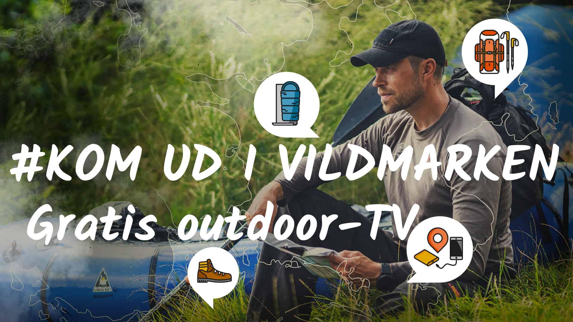 Kom ud i Vildmarken, gratis outdoor-TV med Erik B. Jørgensen. Billede af Erik B. Jørgensen i naturen, med packraft ved sin side