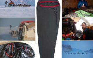 Lagenpose, Thermolite® Reactor™ Fleece, fra Sea to Summit [anmeldelse], collage af billeder, med Erik B. Jørgensen på tur og bruger lagenposen
