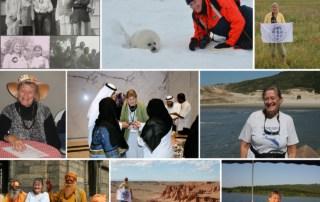 Collage af billeder af Birgith Sloth rundt i verden på eventyr, til [Podcasts] Mød eventyreren Birgith Sloth, vært Erik B. Jørgensen
