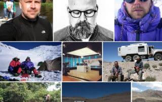 [Podcasts] Mød eventyreren Bugge Holm Hansen, vært Erik B. Jørgensen. Collage af billeder, med Bugge.