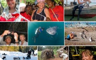 Billede collage, af Lene Topp på arbejde og ture: [Podcasts] Mød eventyreren Lene Topp