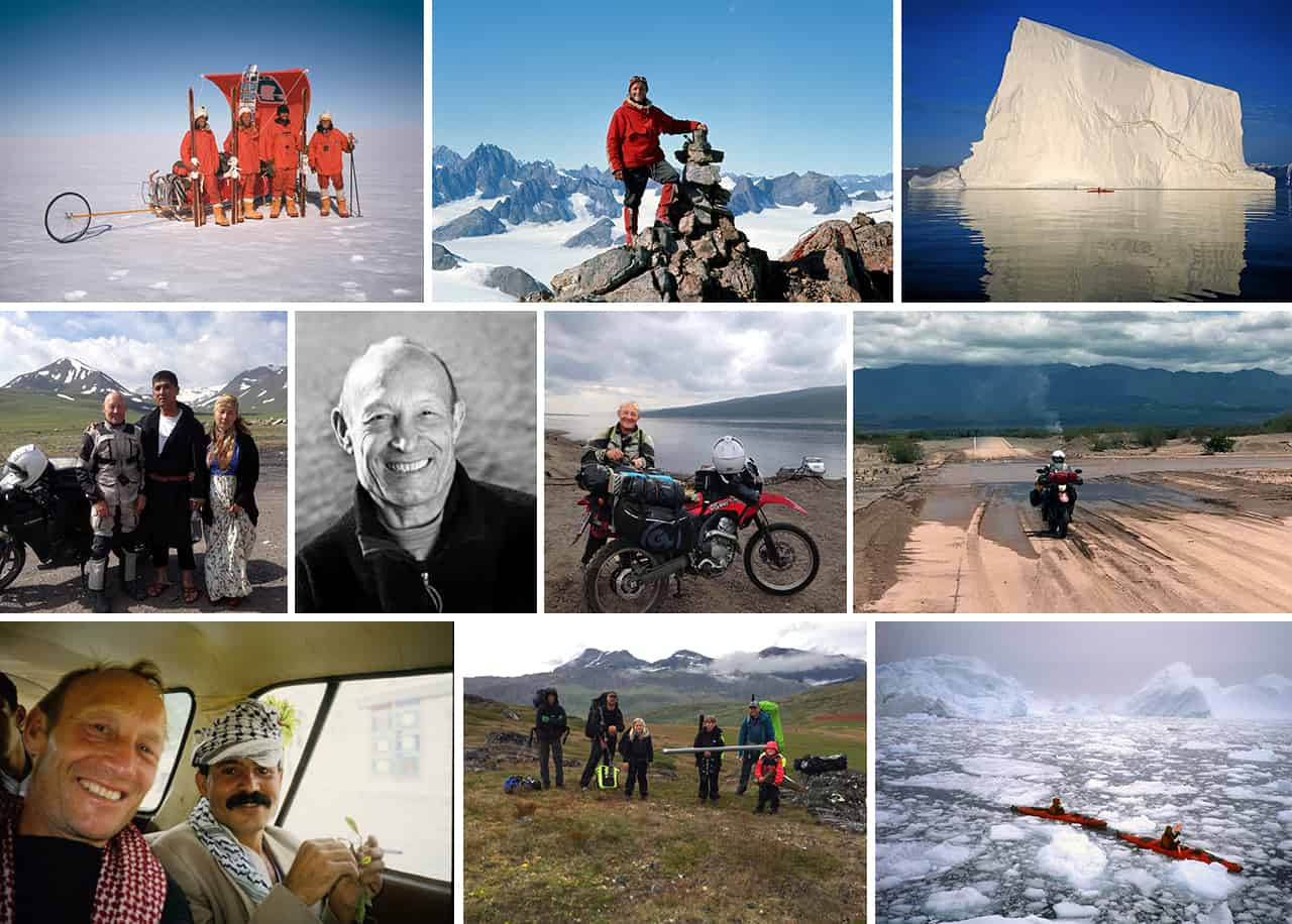 Collage af billeder, med John Andersen på tur/ekspedition, til: [Podcasts] Mød eventyrer John Andersen, genbesøger