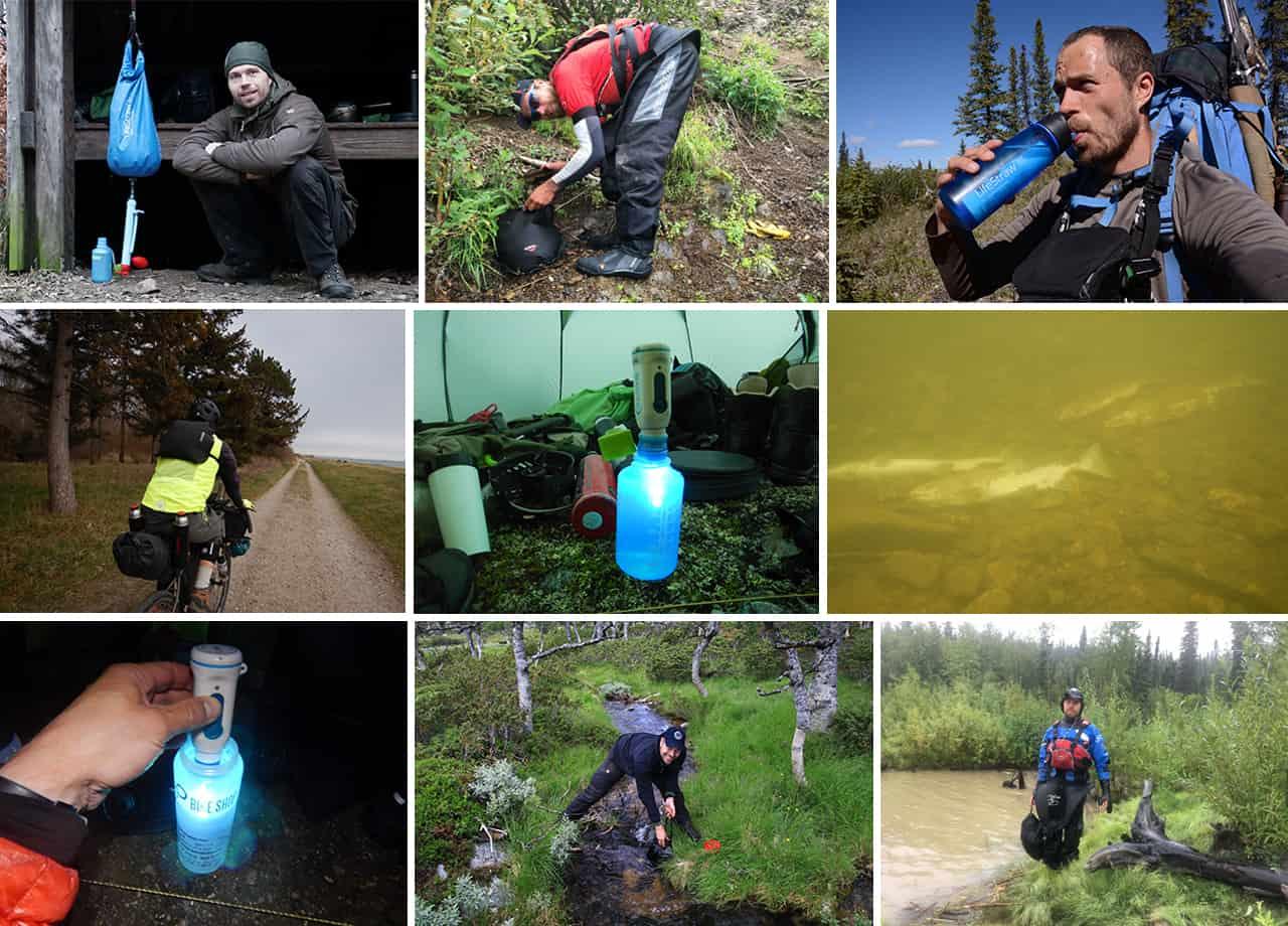 Collage billeder af Erik B. Jørgensen på tur/ekspeditioner med vandrensning, til indlægget Rent vand på tur, vandrensning i naturen [Valg af] [Fif og råd], af Erik B. Jørgensen