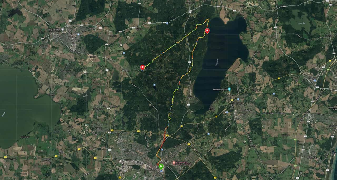 Ruten, Vandretur, Gribskov, kompaskurs, 12-13 jan 2021. Kort med rute