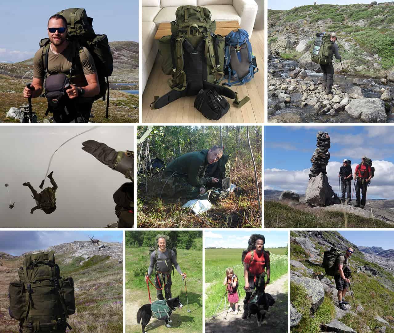 Collage med billeder af Erik B. Jørgensen der bruger Saracen, militærrygsæk, Lowe Alpine [Anmeldelse] på ture og i Jægerkorpset
