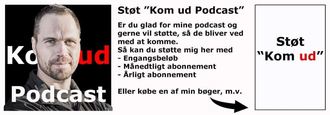 """Banner med Erik B. Jørgensen, Støt """"Kom ud - Podcast"""" via min shop"""