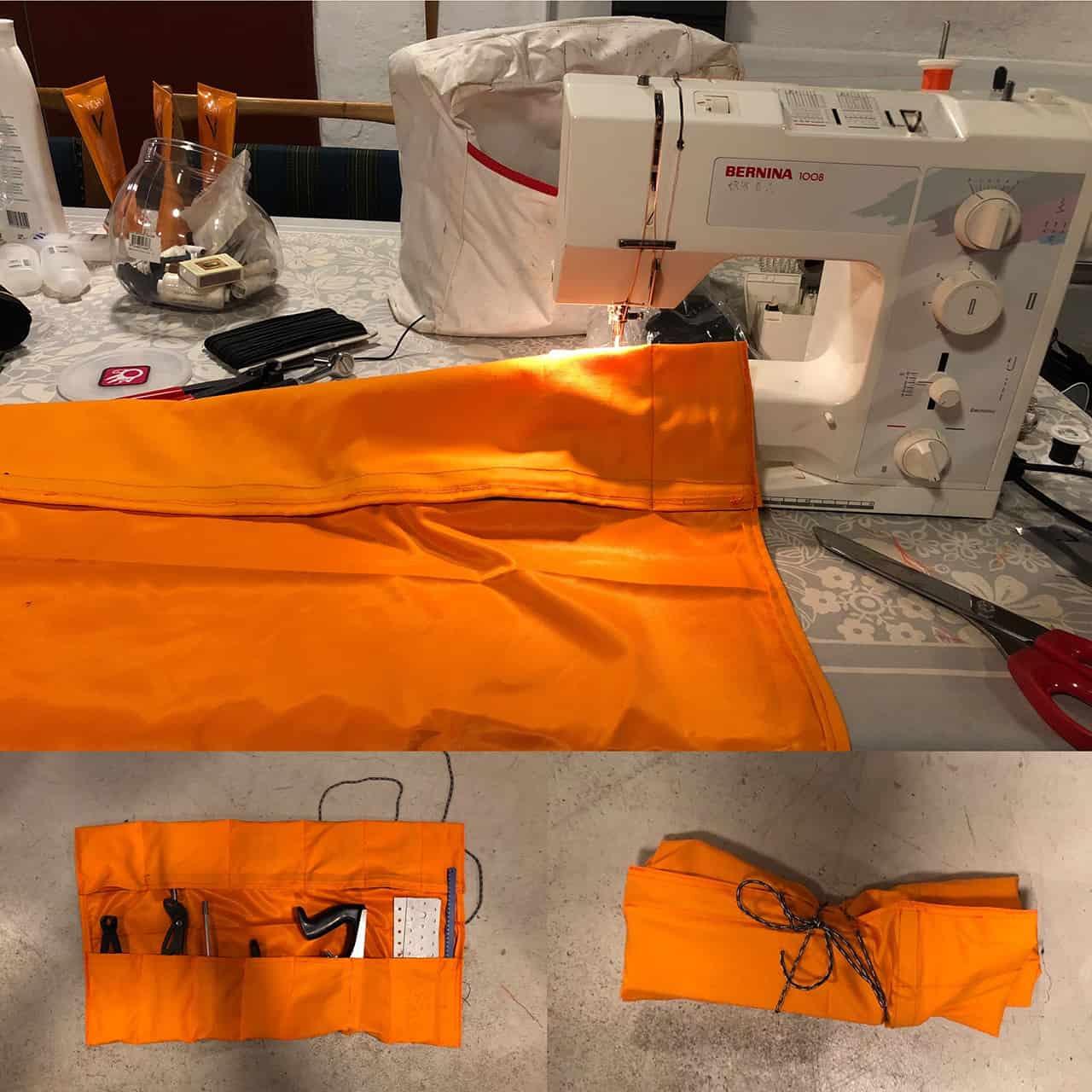 Symaskine og taske til værktøj, er ved at blive syet