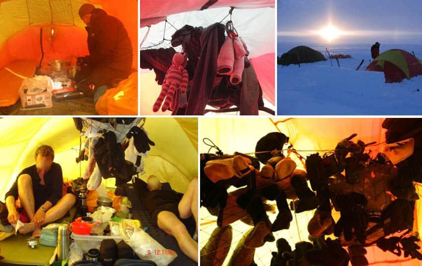 Tørrenet i telt, Grønland Indlandsisen, eksempler