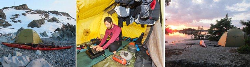 Tørrenet i telt, Skandinavien i kajak, isvinter