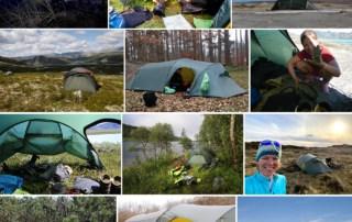 Billedecollage af telt på tur, til indlægget Telt anmeldelse, Nordisk Oppland 3 LW, 2015-2020 af Erik B. Jørgensen