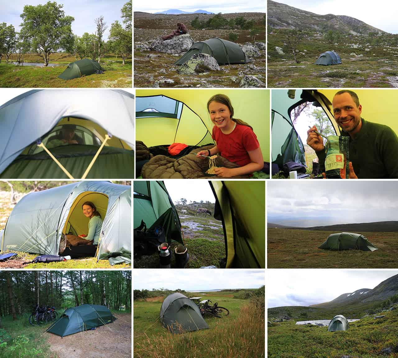 Billede collage af Erik B. Jørgensen teltet Oppland 2 LW på ture og ekspeditioner til indlægget Telt anmeldelse, Oppland 2 LW, fra Nordisk, på tur med Erik B. Jørgensen