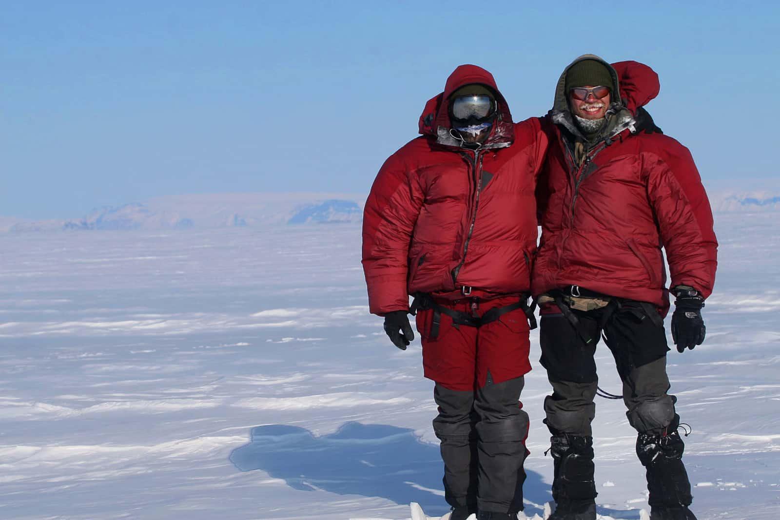"Erik B. Jørgensen og Jesper ved Vildtland, Indlandsisen, Grønland, under ""Thule til Thule"""