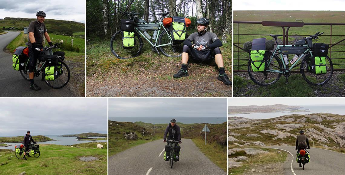 Erik B. Jørgensen på cykeltur på sin Surly, Straggler, med side tasker. Billeder fra Skotland og Irland.