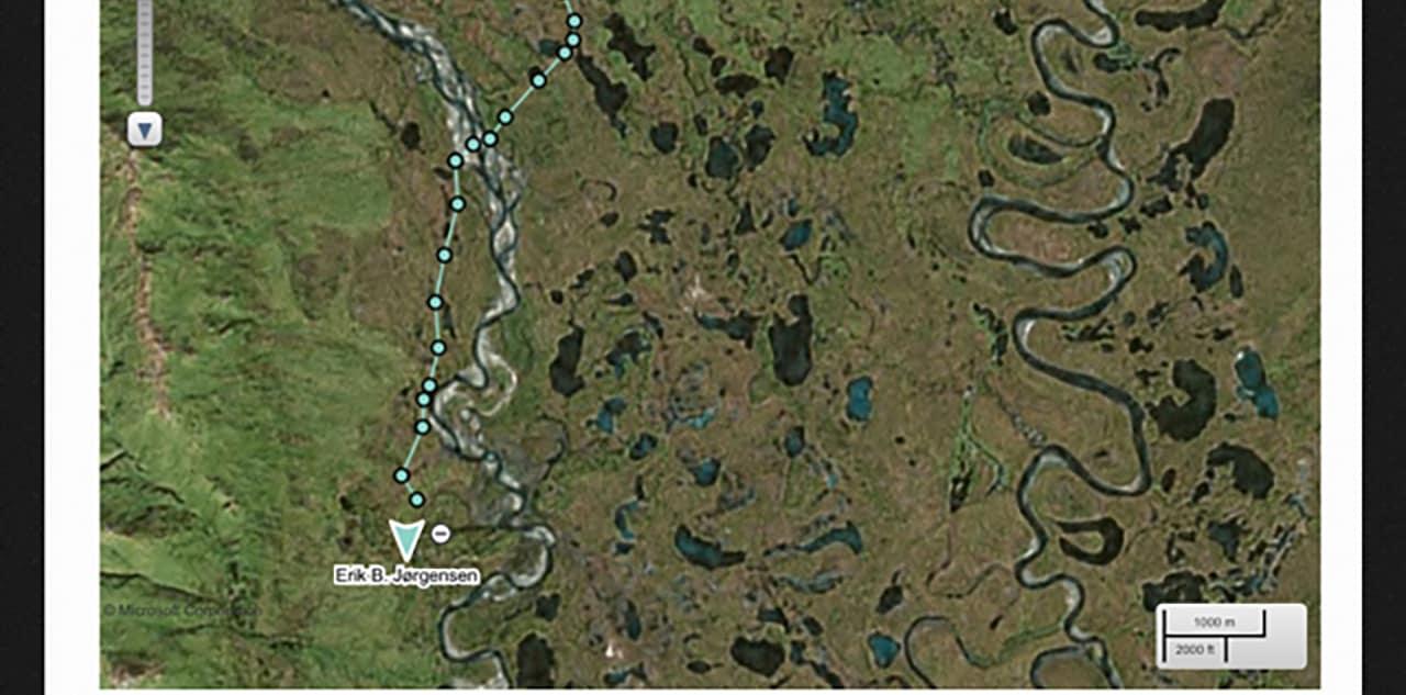 Valg af GPS, LIVE tracker, venner og familie følge med, eksempel fra kort med tracking.