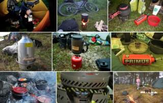 Billede collage af brænder i alle former til friluftsliv, til Valg af brænder til friluftsture, af Erik B. Jørgensen