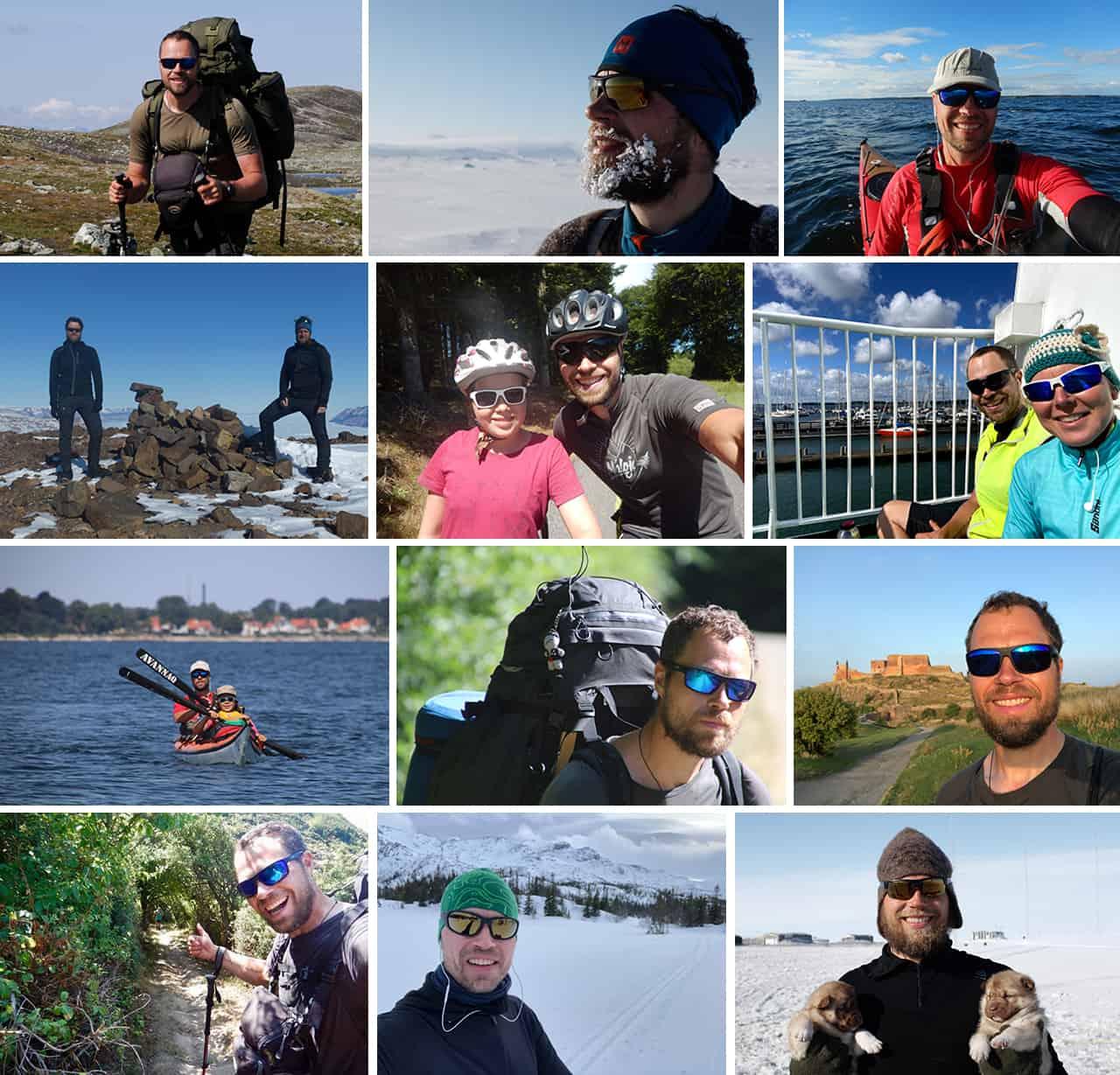 Collage af billeder fra ture og ekspeditioner med Erik B. Jørgensen hvor han bruger solbriller, til indlægget Valg af solbriller, Wiley X af Erik B. Jørgensen