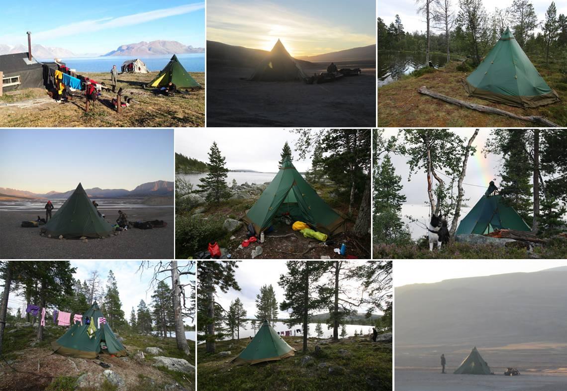 Valg af telt til friluftsliv, [Fif og råd]. Billeder af Erik B. Jørgensen mange forskellig lavvutelte på mange forskellig friluftsture.