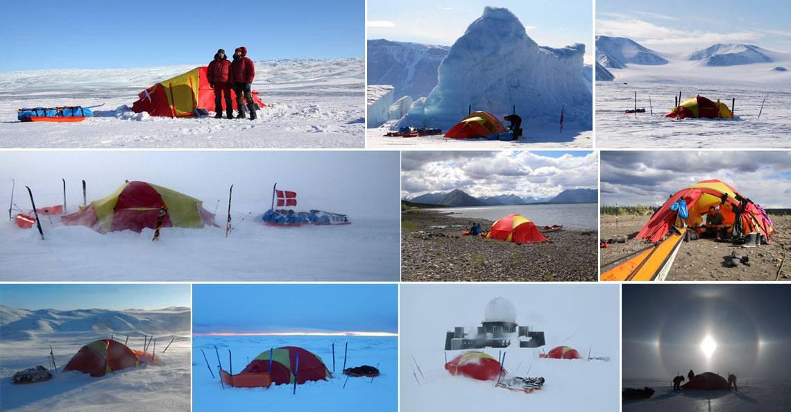 Valg af telt til friluftsliv, [Fif og råd]. Billeder af Erik B. Jørgensen mange forskellig kombitelte på mange forskellig vinterture.