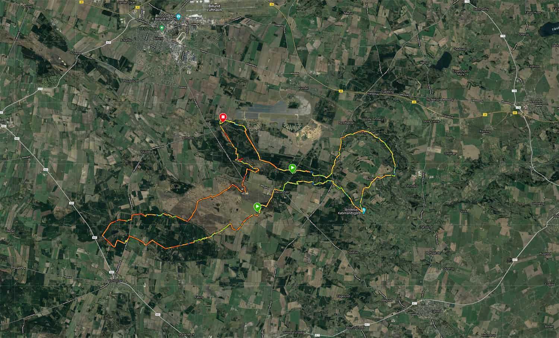 Kort over ruten, fra Vandretur, Frederikshåb Plantage og Randbøl Hede [Mikroeventyr]