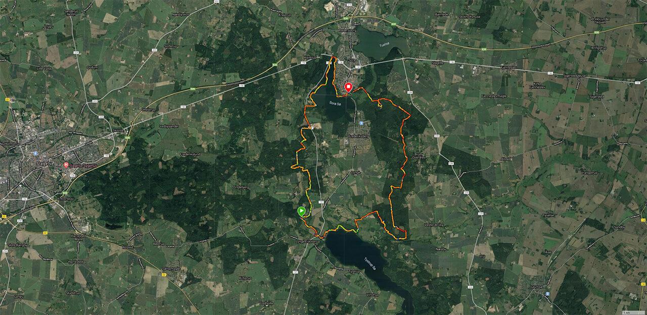 Billede af ruten jeg gik under Vandretur, Sorø og skovene syd for [Mikroeventyr]