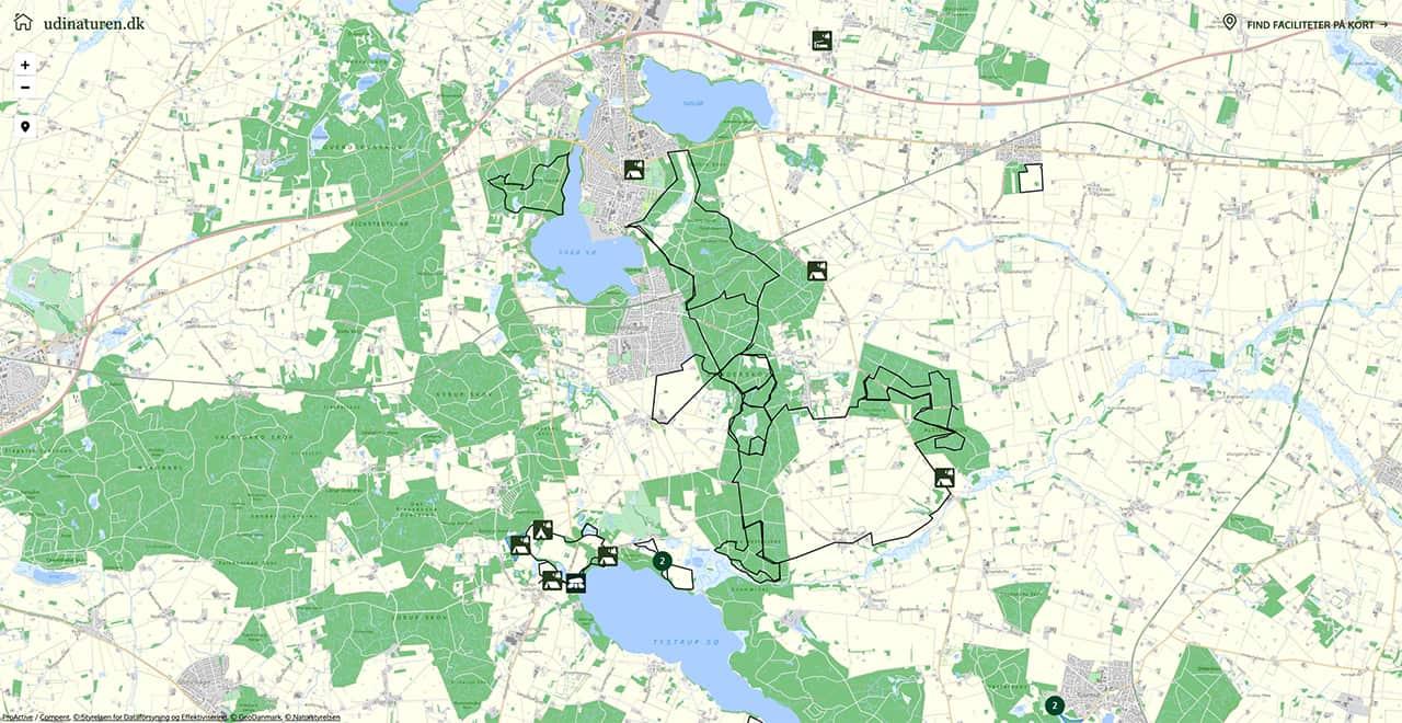 kort fra udinaturen.dk fra Vandretur, Sorø og skovene syd for [Mikroeventyr]