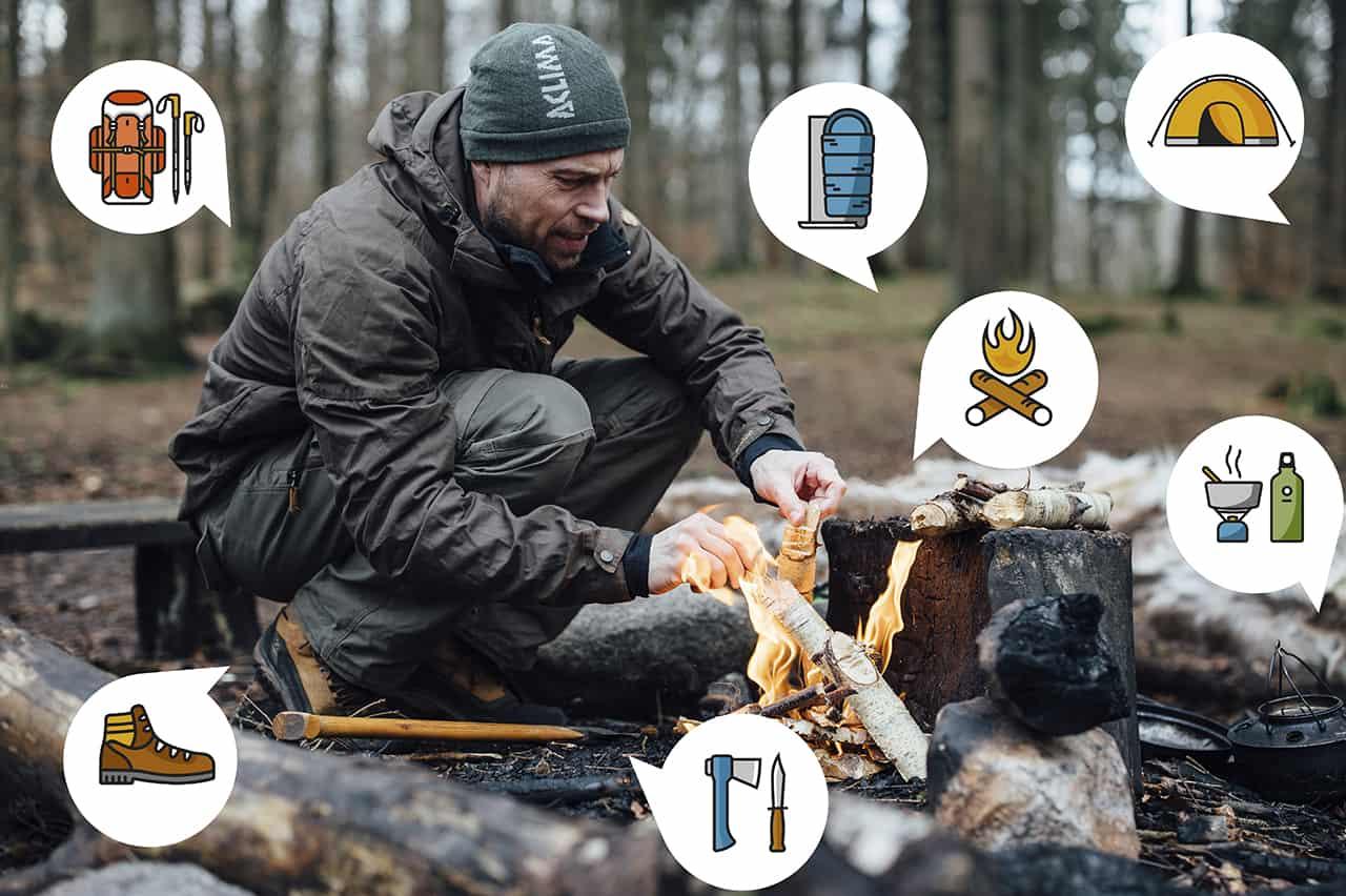 Vejledning i Kom ud – Outdoorblog. Billede Erik B. Jørgensen laver bål og ikoner rundt omkring ham