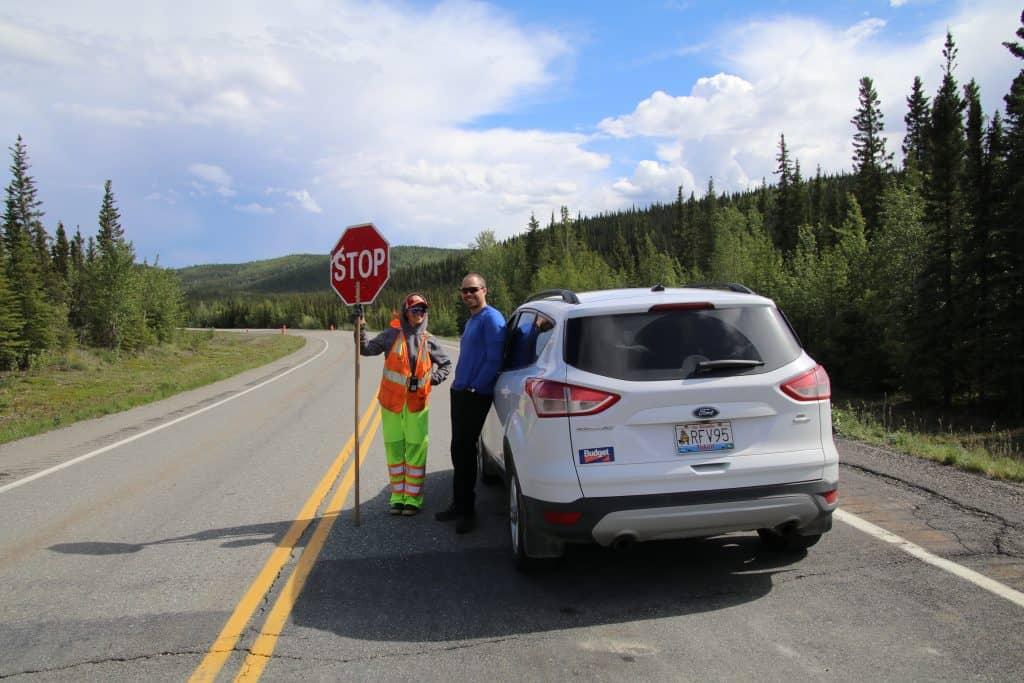 Alaska Highway vejarbejde. Svensk arbejder
