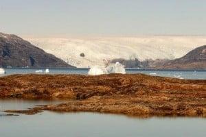 Tur til Østgrønland. Indlandsisen og isbjerge i vandet.